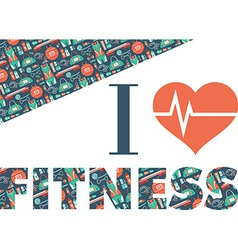 Fitness icons background i love fitness vector