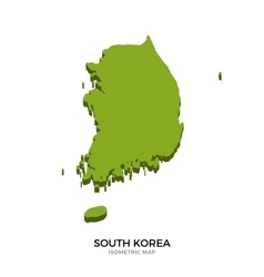 Isometric map of South Korea detailed vector image vector image