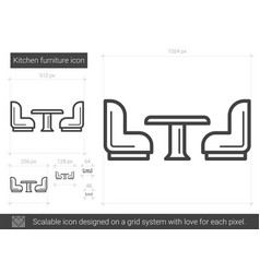 kitchen furniture line icon vector image vector image