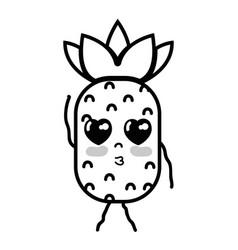 Line kawaii cute tender pineapple fruit vector