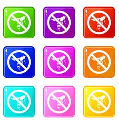 No wasp sign icons 9 set vector