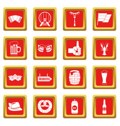 Oktoberfest icons set red vector