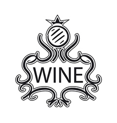 ornate logo with crown and cask wine vector image vector image