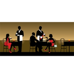 People resting in night club or restaurant vector