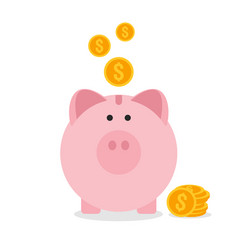 Piggy bank flat design saving money concept vector