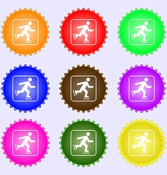 roller skating icon sign Big set of colorful vector image