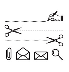 Scissors cut lines and icons for notebook vector