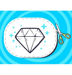 Scissors cutting sticker with icon of dia vector