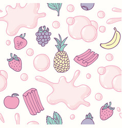 Seamless pattern with hand drawn bubble gum vector