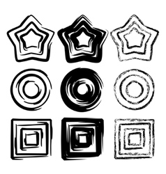 Set of grunge spiral motion geometric vector