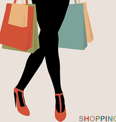 Shopping concept with woman silhouette carrying vector image vector image