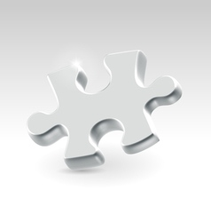 Silver jigsaw puzzle piece vector image vector image