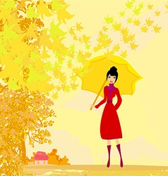 Stylish woman with umbrella vector