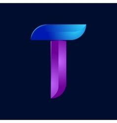 T letter volume blue and purple color logo design vector image