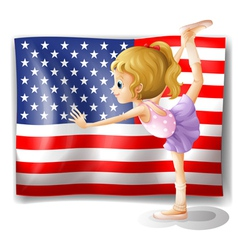The flag of USA at the back of a dancer vector image vector image