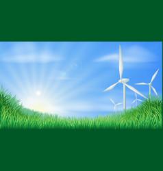 Wind turbines landscape vector