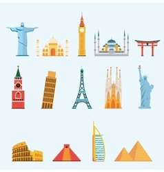 World famous travel landmarks vector image vector image