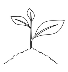 Young plant icon outline style vector image