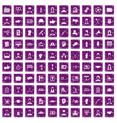 100 team work icons set grunge purple vector image