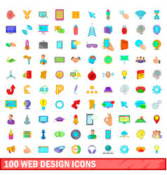 100 web design icons set cartoon style vector image