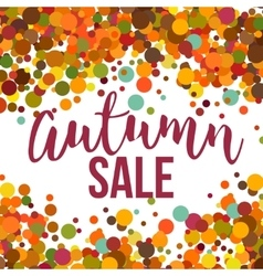 Fall sale promo label autumnal confetti template vector