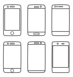 Smartphone icon set isolated on white vector
