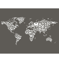 Butterfly world map vector
