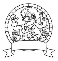 Emblem of funny scientist or inventor vector image