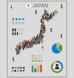 Large group of people in form of japan map vector