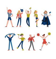 Smiling sport fans and supporters characters vector