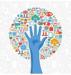 Diversity social media hand tree vector