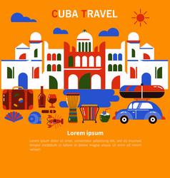 Tourism banner cuba havana vector