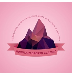 Mountain themed outdoors emblem logo vector