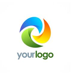 Circle technology color logo vector