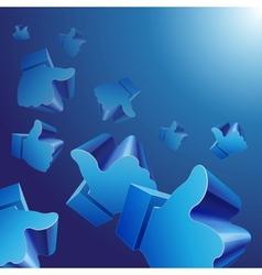 Flying 3d Like symbols on blue background vector image