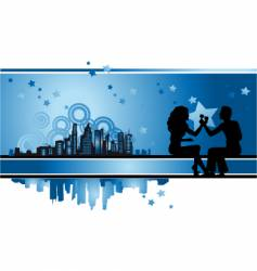 Cityscape urban frame couple silhouette vector