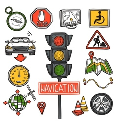Navigation icons sketch vector