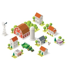 Isometric rural set vector