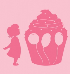 Girl and cupcake vector