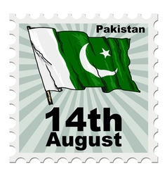 Post stamp of national day of pakistan vector