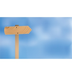 Wooden plate blue sky background vector