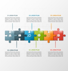 6 steps puzzle style infographic template vector