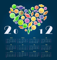 Calendar with heart 2012 year vector