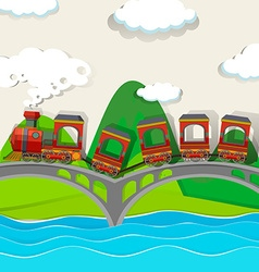 Train crossing over the bridge vector