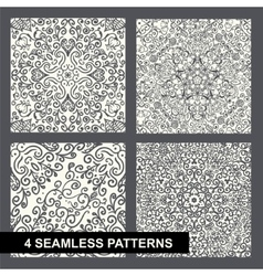 Decorative floral seamless pattern set on white vector