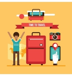 Ready for summer vacation man with travel bag vector