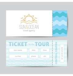 Ticket template with sun and waves logo vector