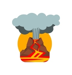 Volcano Eruption Natural Force Sticker vector image