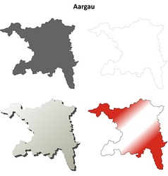 Aargau blank detailed outline map set vector image vector image