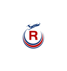 Airplane logo initial r vector